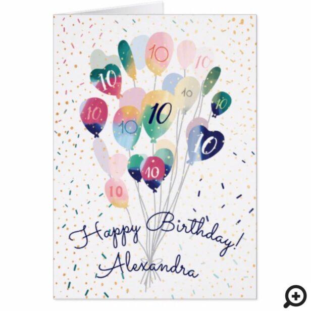 Happy Birthday Floating Balloons Celebration Card
