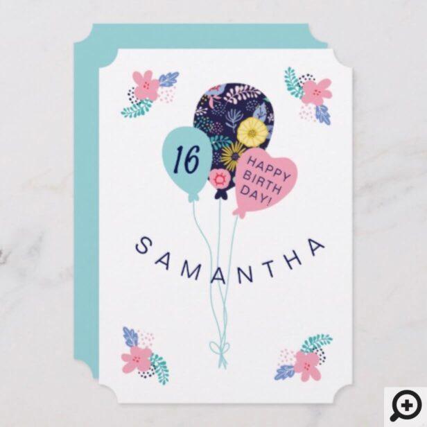 Happy Birthday Pretty Floral Bouquet Balloon Card