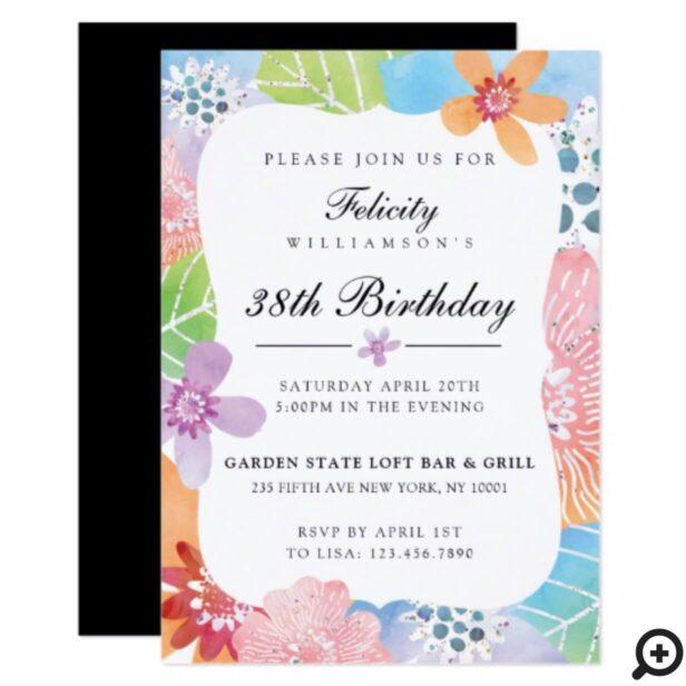 Colourful Watercolour Floral Birthday Invitation