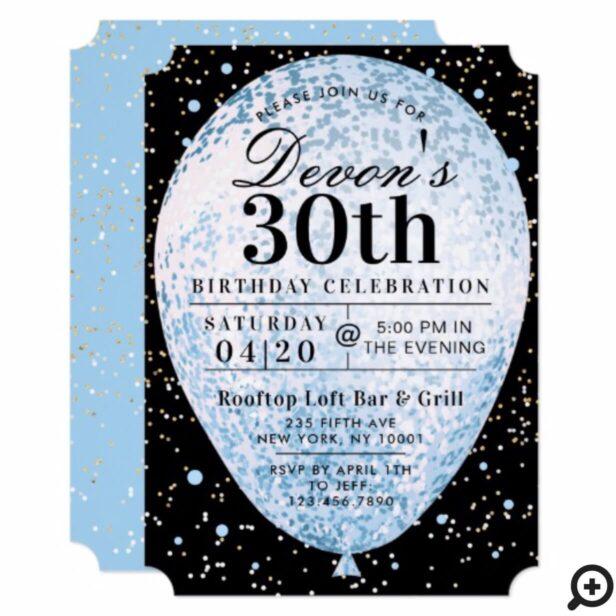 Bold Black Blue & Gold Balloon Birthday Invitation