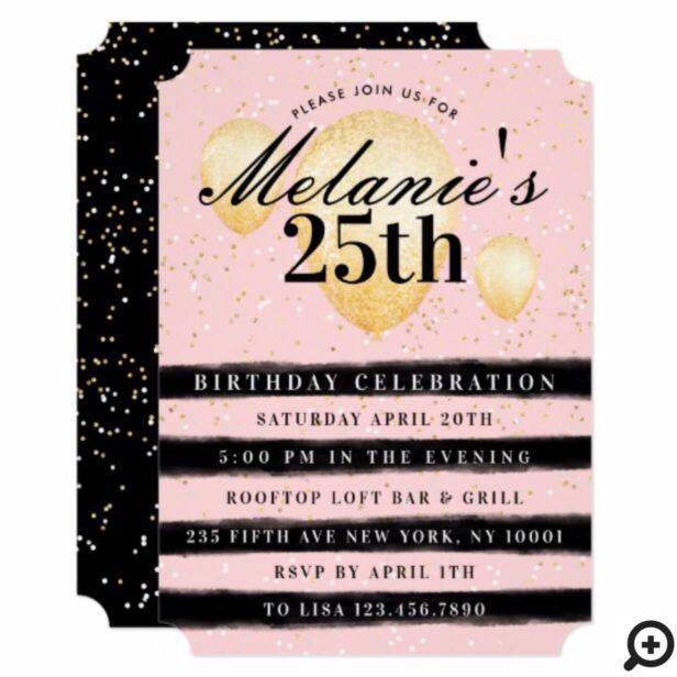 Stripe Black Pink Gold Balloon Birthday Invitation