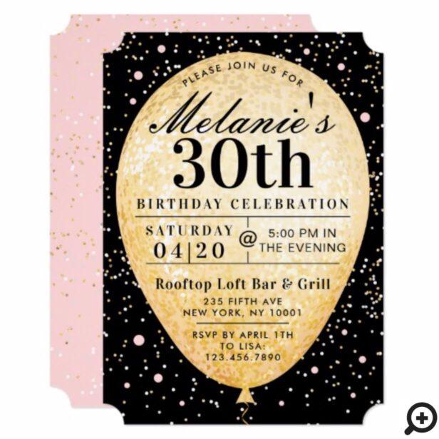 Chic Black Pink & Gold Balloon Birthday Invitation