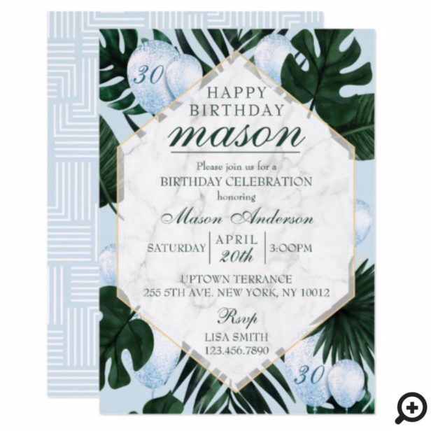 Tropical Leaves Marble Blue Birthday Invitation