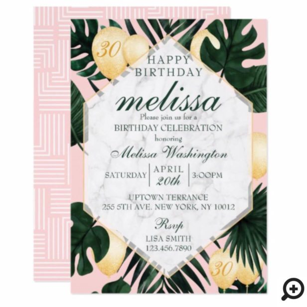 Tropical leaf marble pink gold birthday invitation