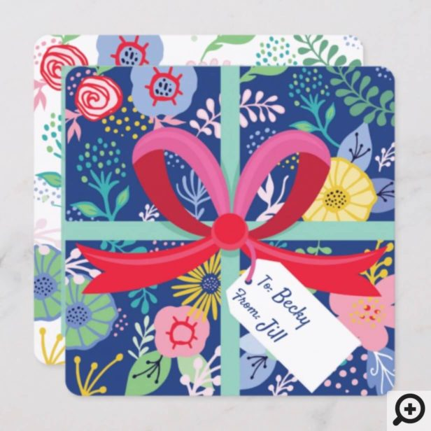 Happy Birthday Floral Flower Wrapped Present Card