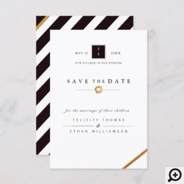 Elegant Black White & Gold Stripe Save The Date