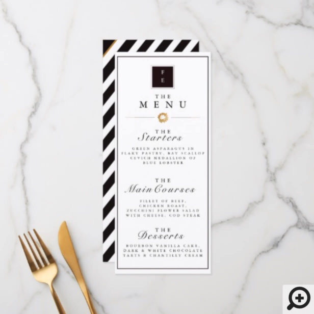 Elegant Black White & Gold Stripe Wedding Menu