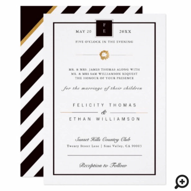 Elegant Black White Gold Stripe Wedding Invitation