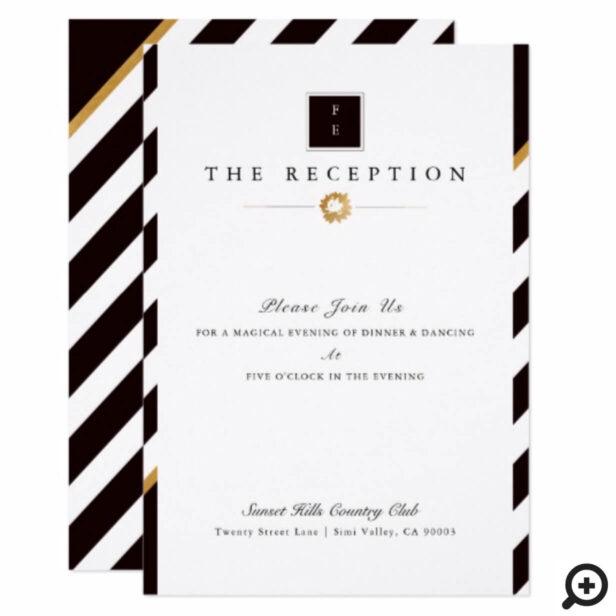 Elegant Black White Gold Stripe Wedding Reception Invitation