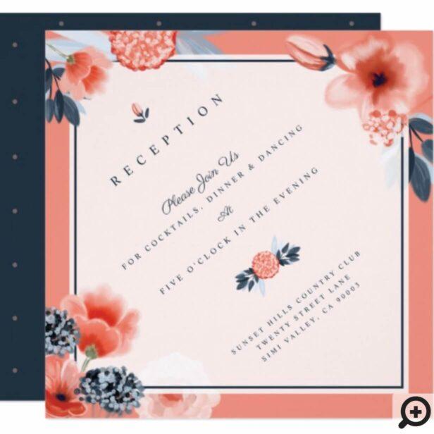 Coral Pink Watercolour Botanical Floral Wedding Invitation