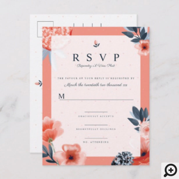 Pink Watercolour Botanical Floral Wedding RSVP Invitation Postcard