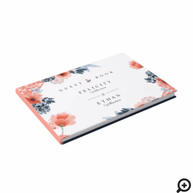 Coral Pink Watercolour Botanical Floral Wedding Guest Book