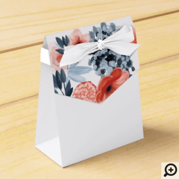 Vintage Modern Coral Watercolour Botanical Florals Favor Box