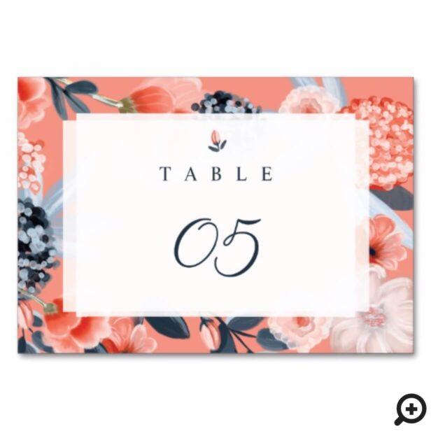 Pink Modern Botanical Floral Wedding Table Number