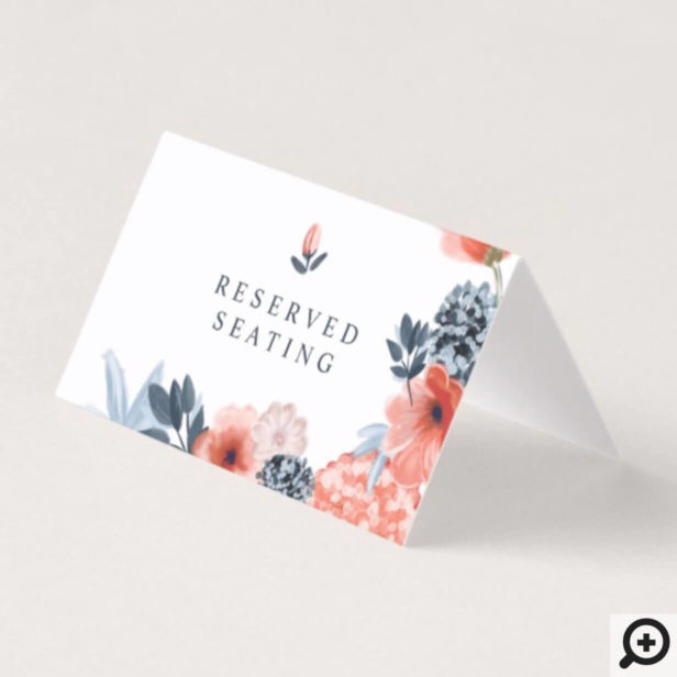 Coral Pink Watercolour Botanical Floral Wedding Place Card