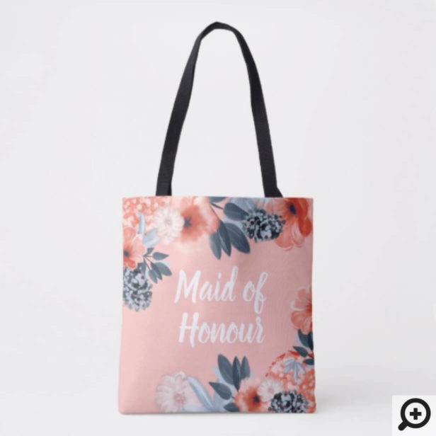 Personalized Tote Bag Botanical Floral Bridesmaid