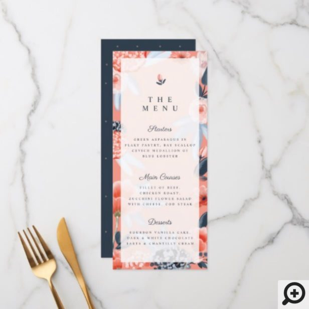 Coral Pink Watercolour Botanical Floral Wedding Menu