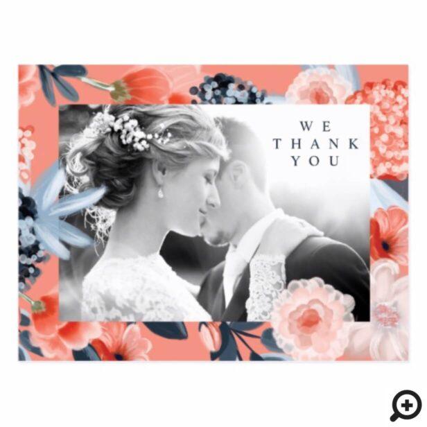 Watercolour Botanical Floral Wedding Thank You Postcard