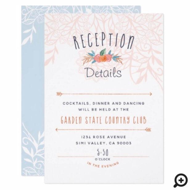 Chic Boho Floral Bohemian Wedding Reception Card