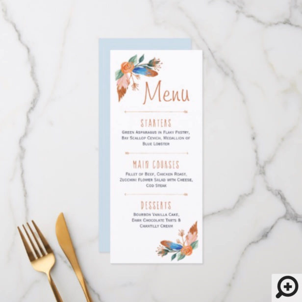 Copper Boho Florals & Feather Wedding Menu Card