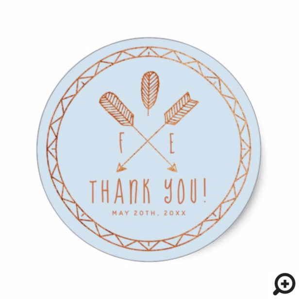 Chic Baby Blue Boho Arrow Monogram Wedding Sticker
