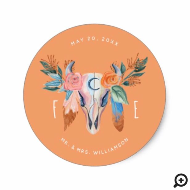 Copper Boho Florals & Feather Wedding Sticker
