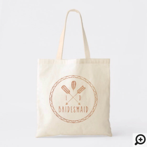 Rustic Chic Boho Arrow Monogram Bridesmaid Tote Bag