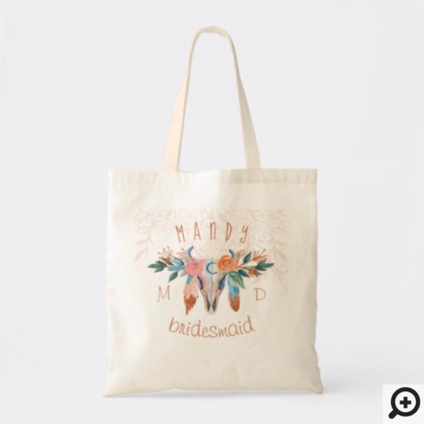 Rustic Boho Florals Bohemian Cow Skull Feather Tote Bag