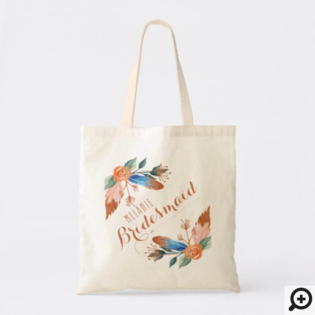 Personalized Tote - Copper Boho Florals & Feather
