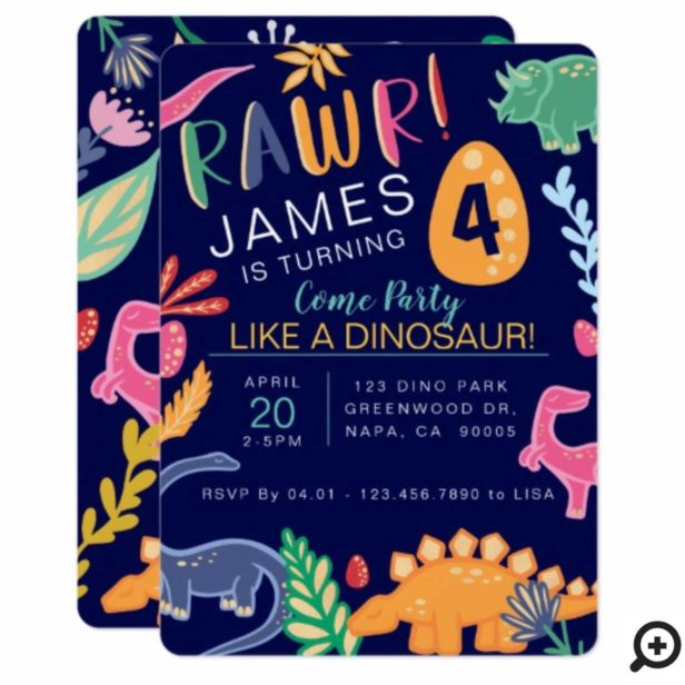 """Bold, fun and colourful dinosaur birthday party invitation. This fun colourful dino birthday invitation features our own hand drawn dinosaurs, leaves and florals to create a unique and bold design. Faux gold accents are incorporated are added to each of the illustrations to add sparkle and style. """"Rawr!"""" heading is displayed in a stylish modern fun typography . The Recipient's age is boldly displayed on a dinosaur egg. Fun bold jungle Leaves and tropical floral elements frame the invitation details. All illustrations contained in this fun colourful dinosaur birthday party invitation are hand drawn original artwork by Moodthology. You can customize the text size, text colour, font and layout for your own personal design preference."""