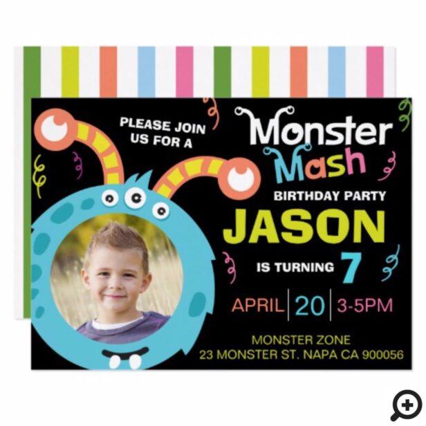 Fun Monster Mash Photo Birthday Party Invitation