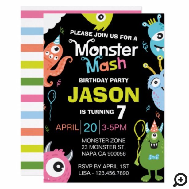 Fun Bright Monster Mash Birthday Party Invitation