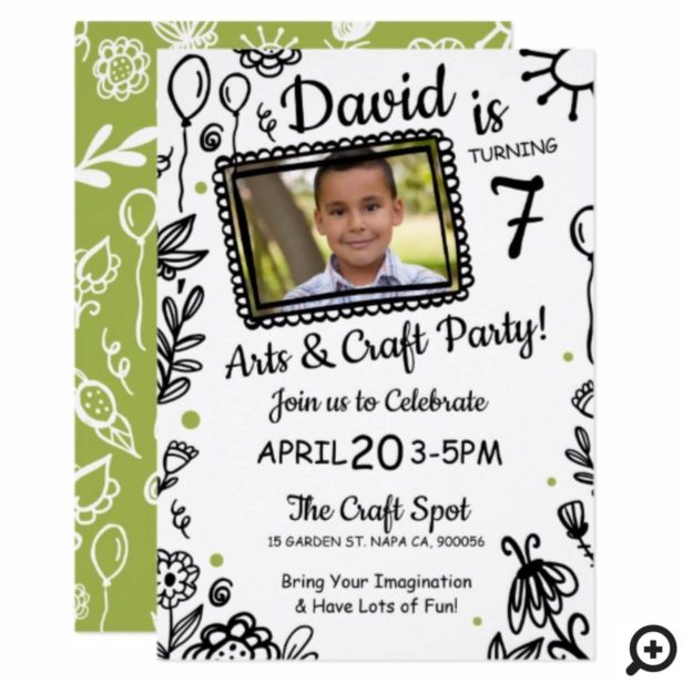 Fun Sketch Doodle Crafts Birthday Party Invitation