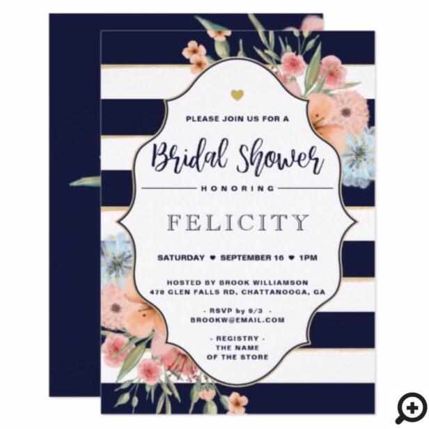 Bridal Shower Invite Floral Flowers & Navy Stripes