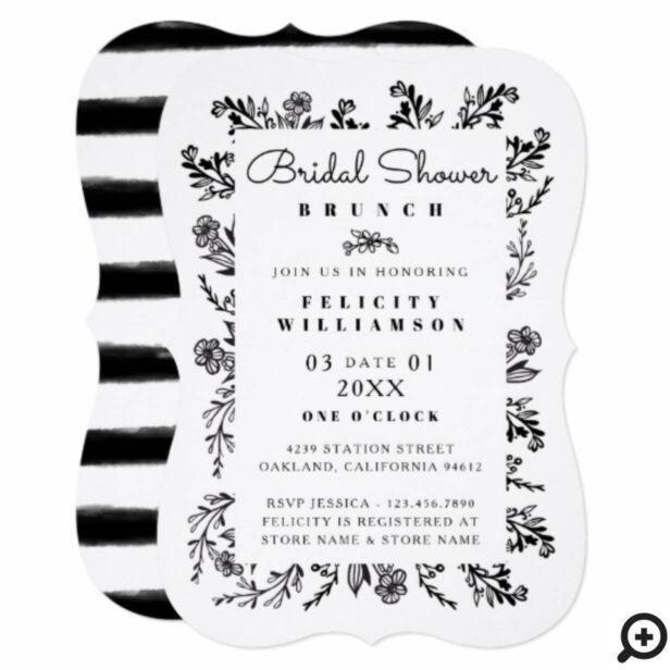 Black & White Botanical Stripe Bridal Shower Card