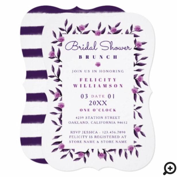 Floral Purple Botanical Stripe Bridal Shower Card