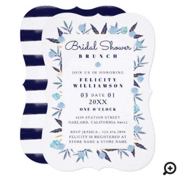 Blue Botanical Navy Stripe Bridal Shower Card