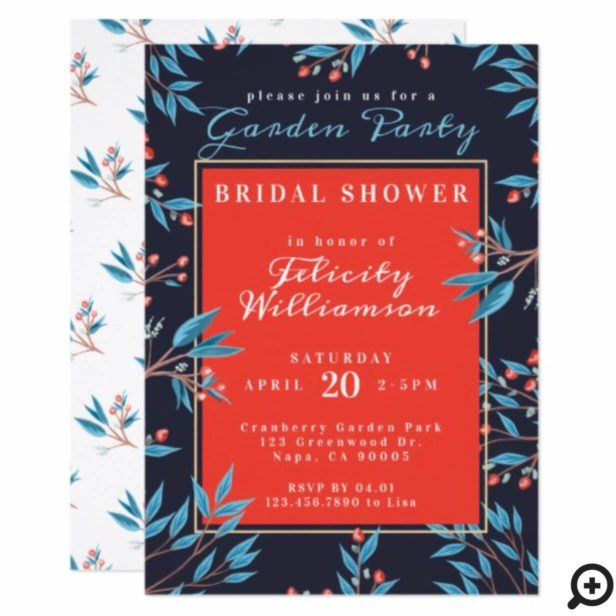 Navy Red Cranberry Floral Botanical Bridal Shower Invitation
