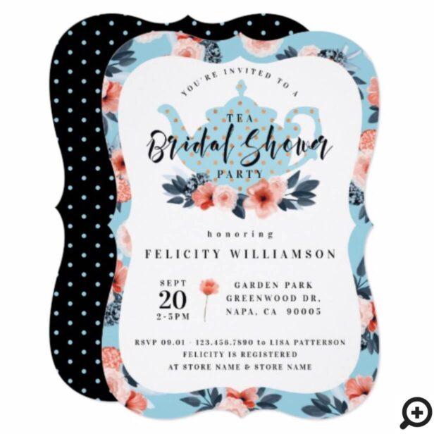 Blue Floral Tea Party Bridal Shower Invitation