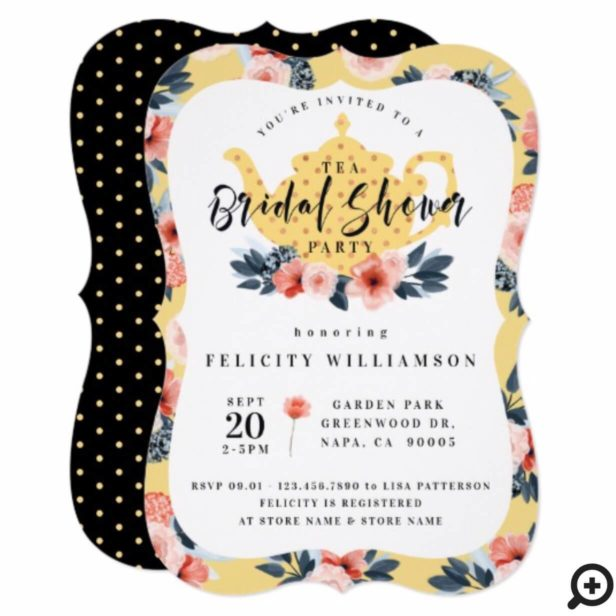 Yellow Floral Tea Party Bridal Shower Invitation