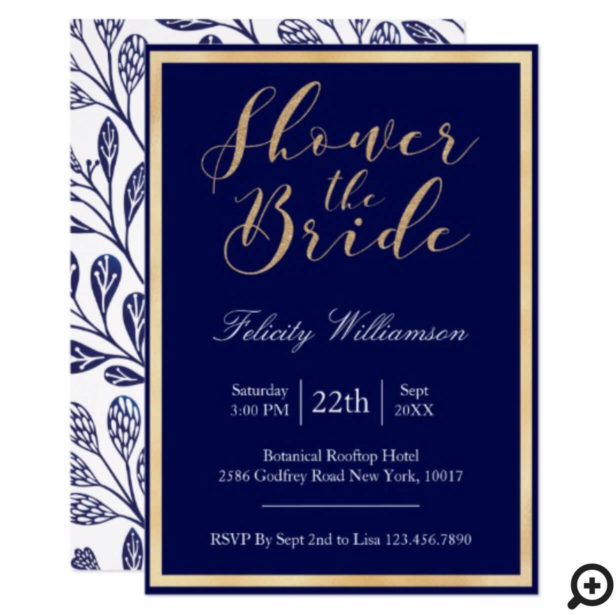 Modern Navy Blue Branch Bridal Shower Invitation