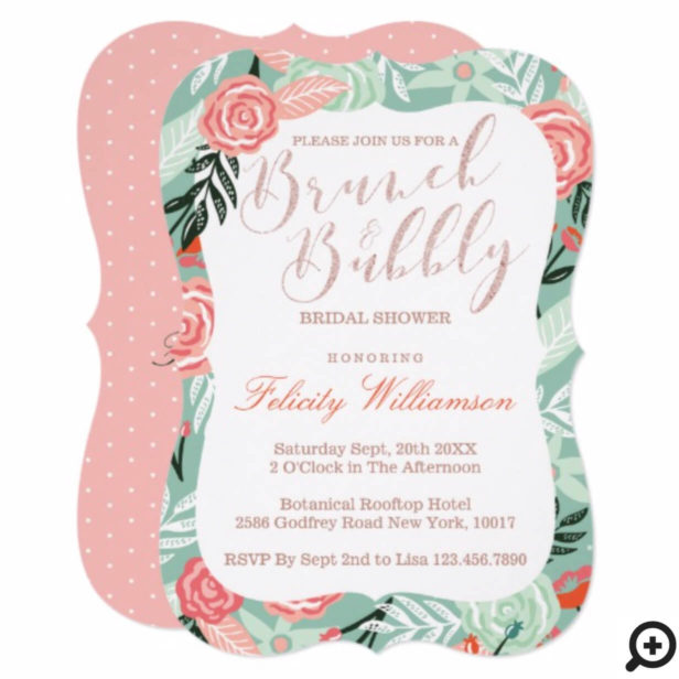 Brunch & Bubbly Floral Bridal Shower Invitationx