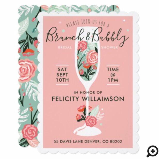 Brunch & Bubbly Floral Bridal Shower Invitation