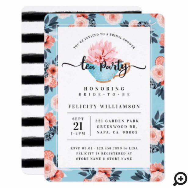 Blue Teacup Tea Party Bridal Shower Invitation