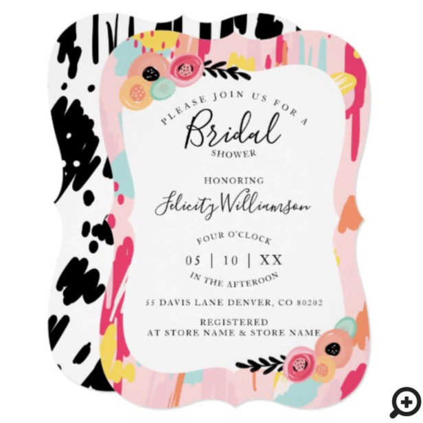 Modern Abstract Artistic Bridal Shower Invitation