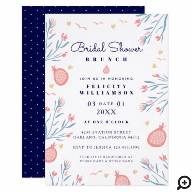 Pomegranate Fruit Floral Bridal Shower Invitation