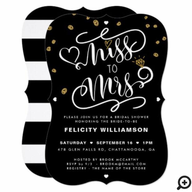 Miss To Mrs Pink Gold & Black Stripe Bridal Shower Invitation