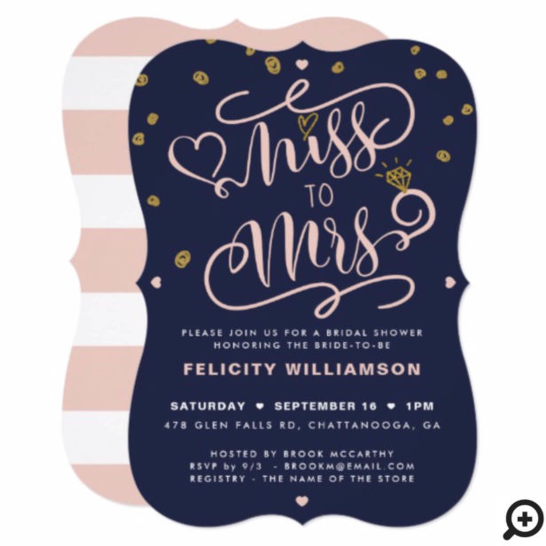 Miss To Mrs Pink Gold & Navy Stripe Bridal Shower Invitation