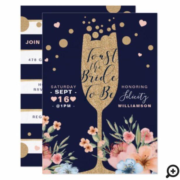 Gold Champagne | Florals & Stripe Bridal Shower Invitation