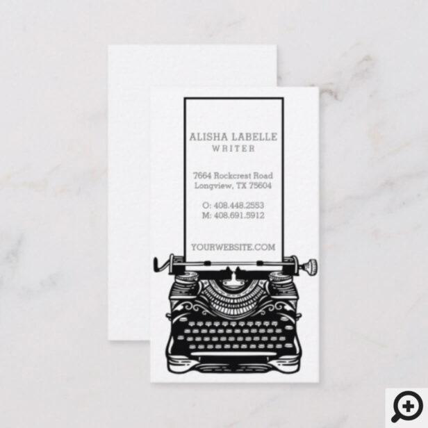 Vintage Black & White Antique Typewriter Monogram Business Card